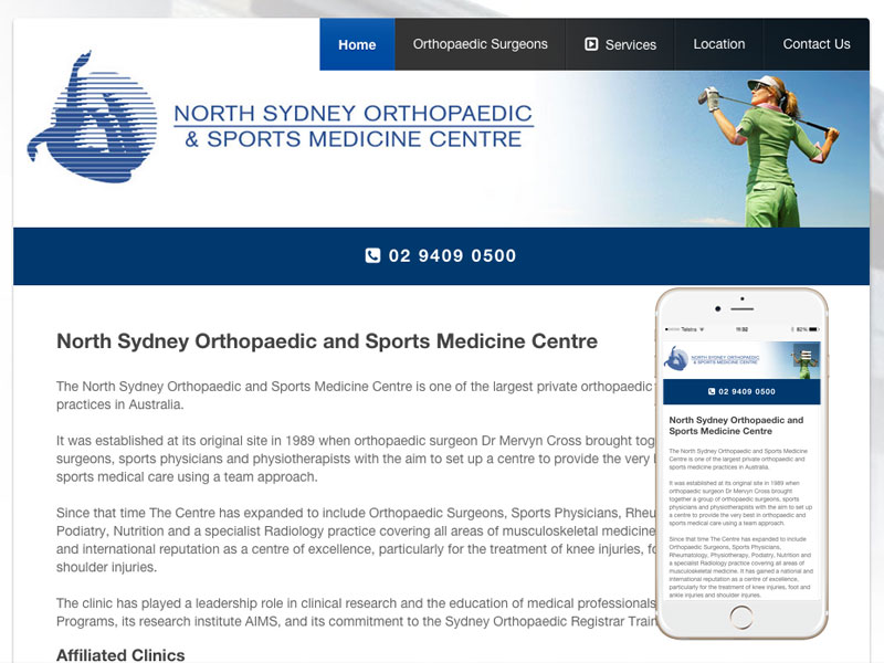 Orthopaedic & Sports Medicine Website Design Sydney