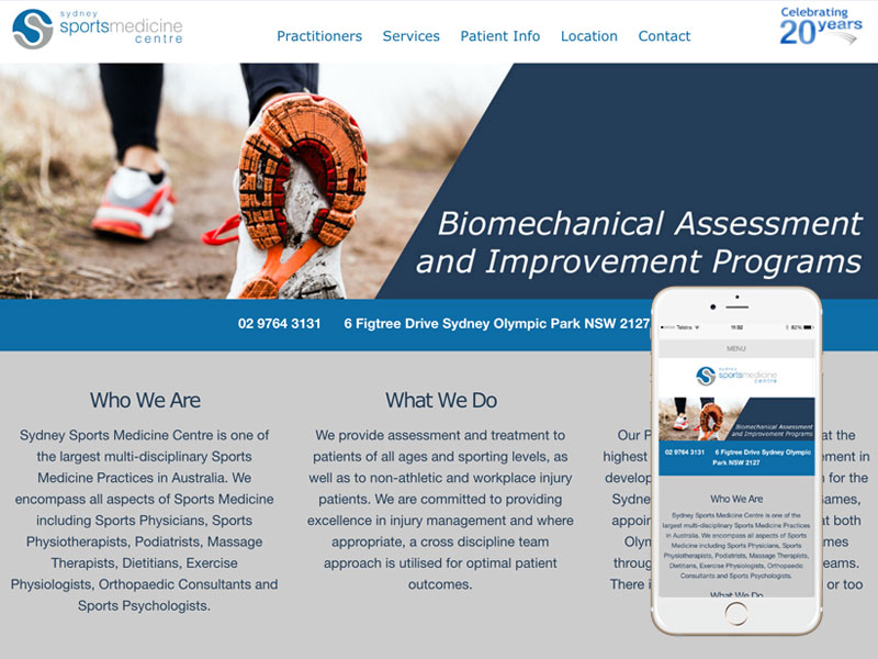 Sports Medicine Website Design Sydney