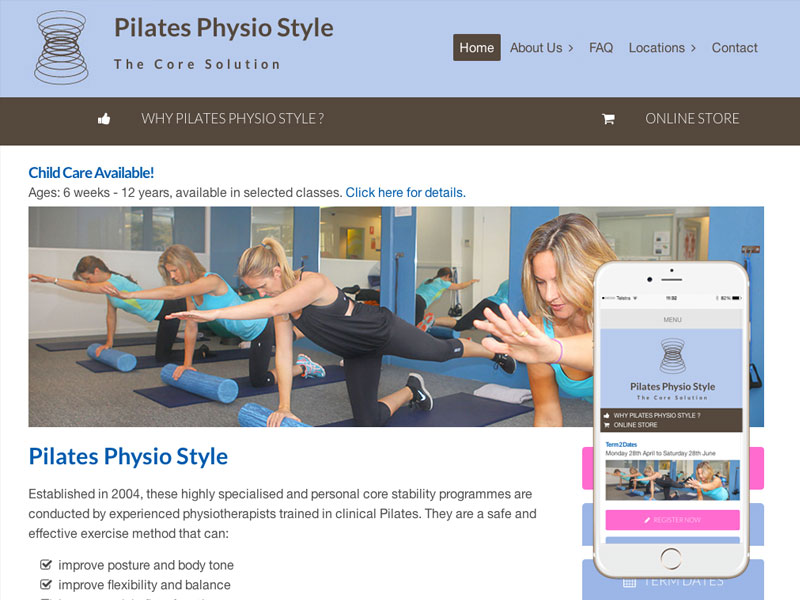 Pilates Physiotherapy Website Design Sydney