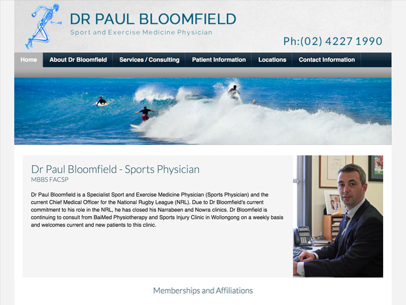 Sydney Wollongong Sports Physician Website Design