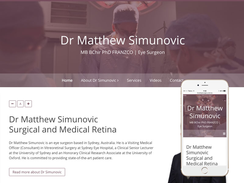Sydney Eye Surgeon Website Design