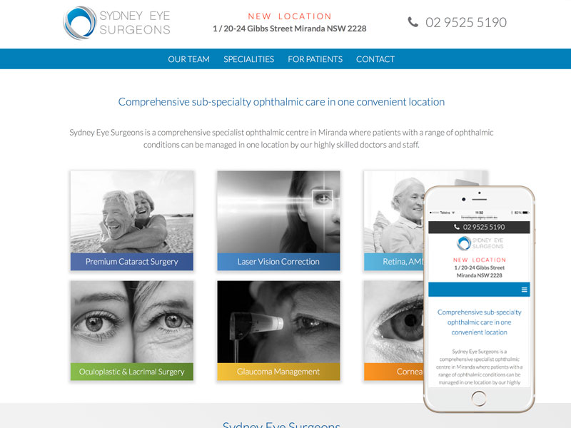 Ophthalmology Website Design Sydney