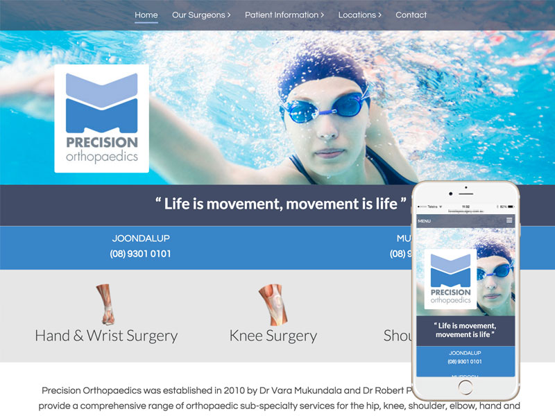 Precision Orthopaedics Medical Website Design Perth