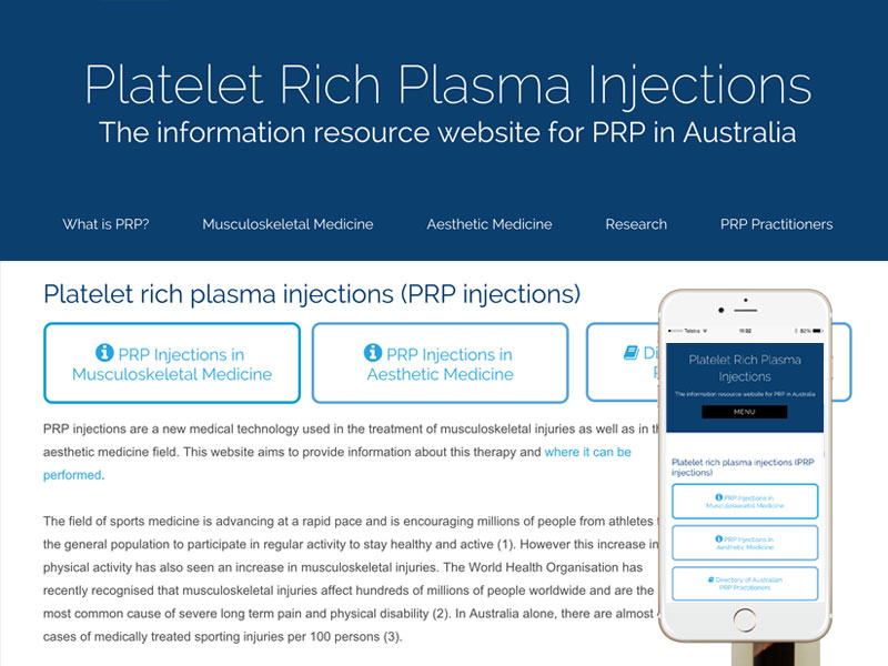 PRP Injections Website Design