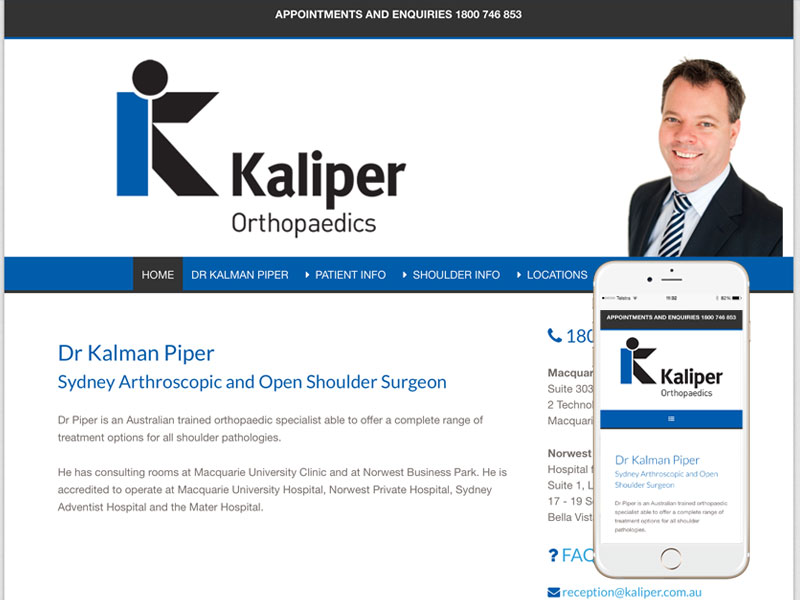 Orthopaedic Surgeon Website Design Sydney