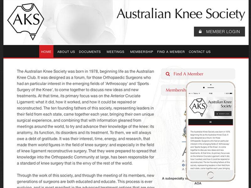 Knee Society Website Design Australia