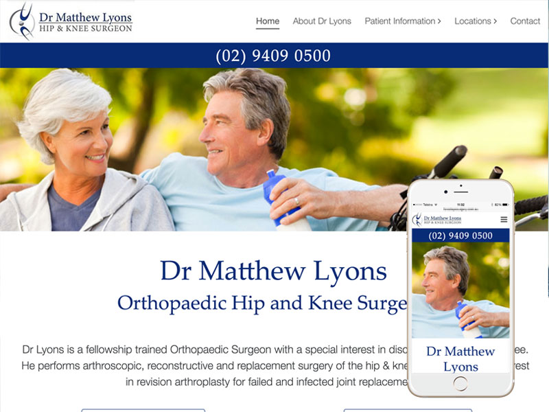Sydney Orthopaedic Surgeon Website Design