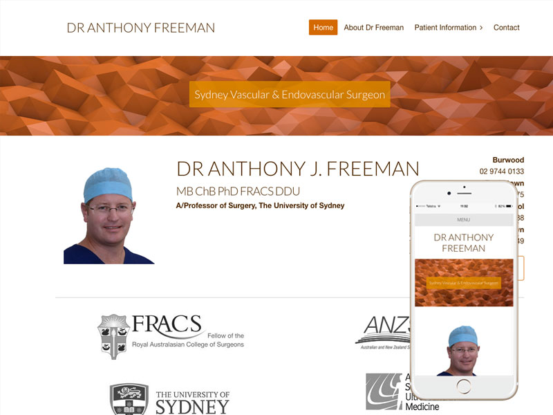 Vascular Surgeon Website Design Sydney