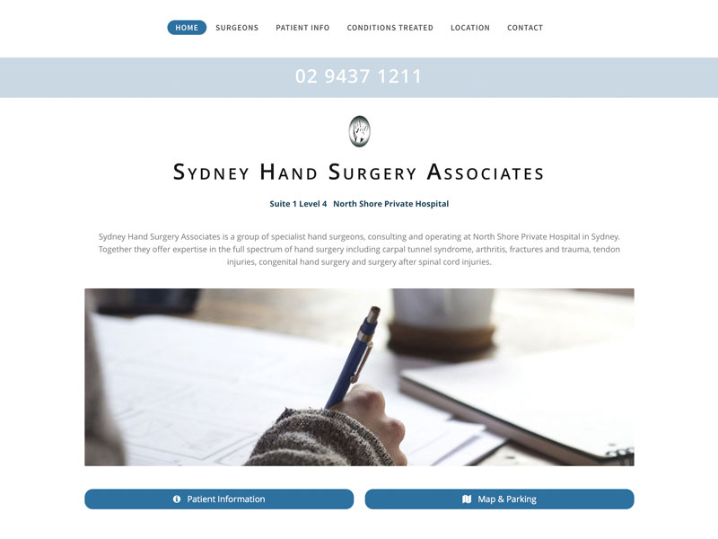 Hand Surgeon website design