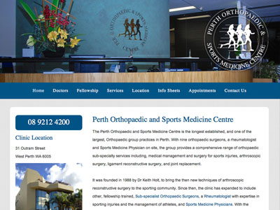 Medical Website Design - Perth Orthopaedic and Sports Medicine Centre